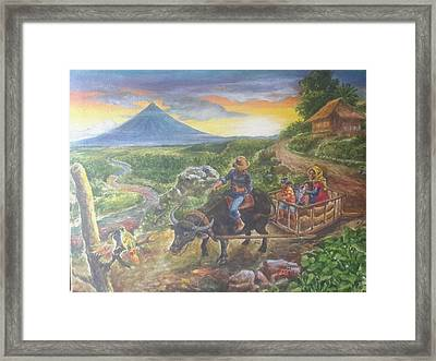 Shopping Family In Mall Framed Print by Manuel Cadag