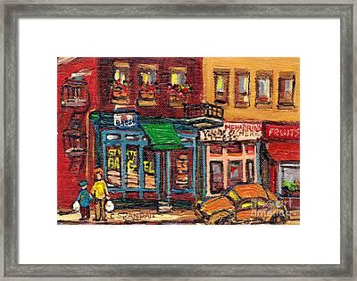 St Viateur Bagel Shop And Mehadrins Kosher Deli Best Original Montreal Jewish Landmark Painting  Framed Print by Carole Spandau