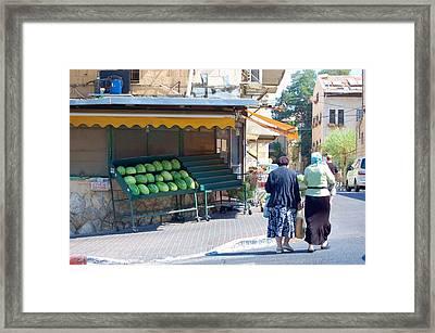 Shopping For Shabbat In Jerusalem Framed Print by Susan Heller