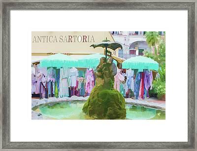 Shopping In Positano Framed Print