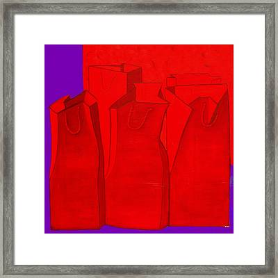 Shopping In Red Framed Print