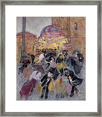 Shopping In The  Shouk For Shabbat, Jerusalem Framed Print by Chana Helen Rosenberg