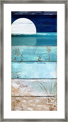 Shore And Moonrise Framed Print by Mindy Sommers