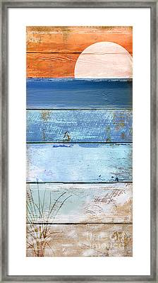 Shore And Sunset Framed Print by Mindy Sommers