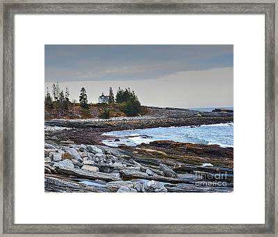 Shore View Of Pemaquid Point Lighthouse Framed Print