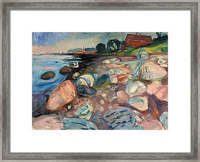 Shore With Red House Framed Print by Edvard Munch