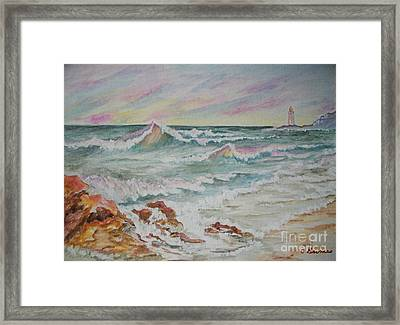 Framed Print featuring the painting Shoreline Breakers by Carol Grimes
