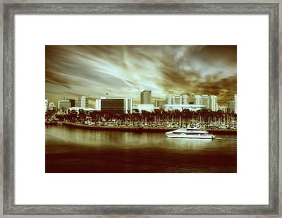 Shoreline Long Beach Ca 09 Sepia Framed Print