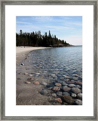 Shoreline Serenity Framed Print by Laura Wergin Comeau