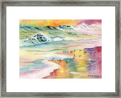 Shoreline Watercolor Framed Print by Melly Terpening