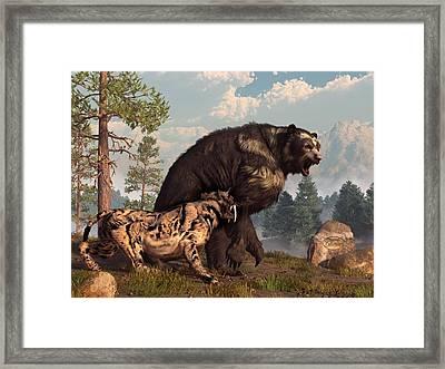 Short-faced Bear And Saber-toothed Cat Framed Print by Daniel Eskridge
