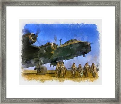 Short Stirling And Aircrew Wwii Framed Print by Esoterica Art Agency
