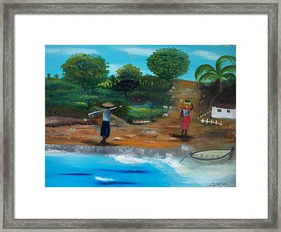 Framed Print featuring the painting Shortcut By The Beach by Nicole Jean-Louis
