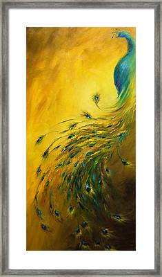 Show Off 1 Vertical Peacock Framed Print by Dina Dargo
