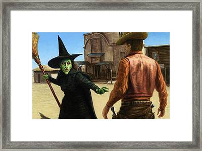 Framed Print featuring the painting Showdown by James W Johnson