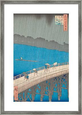 Shower Over Ohashi Bridge Framed Print by Hiroshige