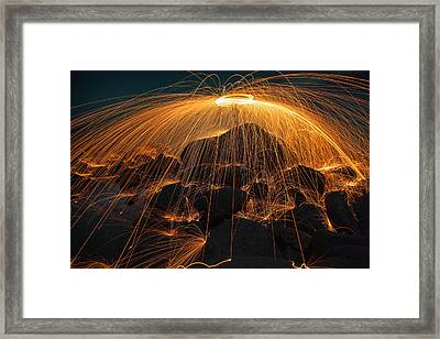 Showers Of Hot Glowing Sparks Framed Print