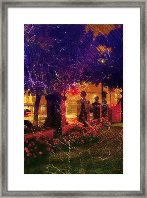 Showery Night On The Corner Framed Print by Kat Besthorn