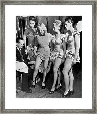 Showgirls Get Smallpox Shots Framed Print by Underwood Archives