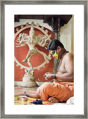 Framed Print featuring the photograph Kathakali Make-up by Marion Galt