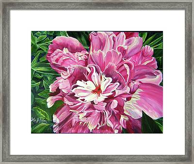 Showy Pink Peony Framed Print by Lee Nixon