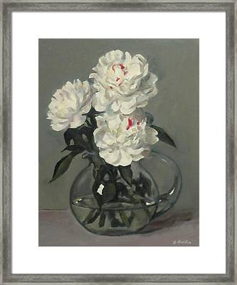 Showy White Peonies In Glass Pitcher Framed Print