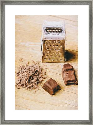 Shredded Chocolate Flakes Fine Art Drawing Framed Print