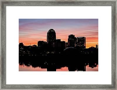 Shreveport At Sunset Framed Print
