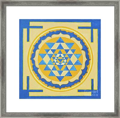 Shri Yantra For Meditation Painted Framed Print by Raimond Klavins
