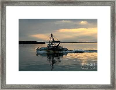 Shrimp Boat At Sunset Framed Print