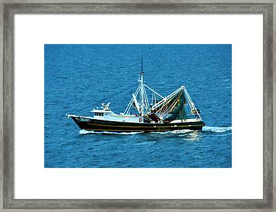 Shrimp Boat In The Gulf Framed Print by Bill Perry