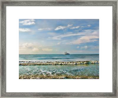 Shrimp Boat Off Kiawah Framed Print by Amy Tyler