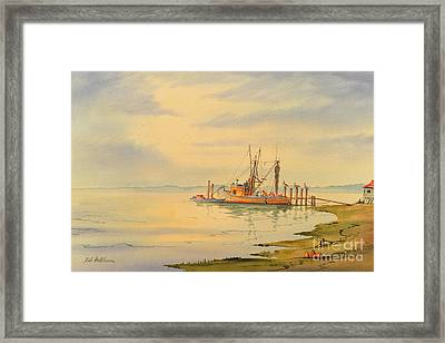 Framed Print featuring the painting Shrimp Boat Sunset by Bill Holkham