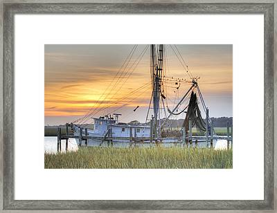 Shrimp Boat Sunset Charleston Sc Framed Print