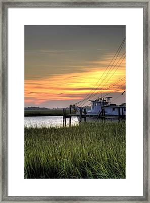 Shrimp Boat Sunset Framed Print