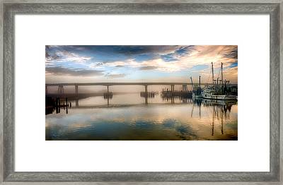 Shrimp Boats At Sunrise Framed Print