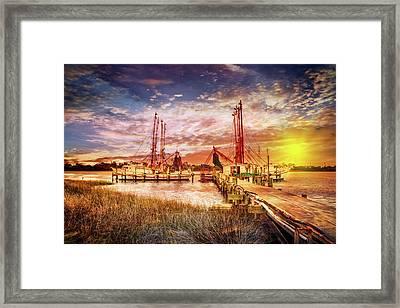 Shrimp Boats At The Dock Framed Print