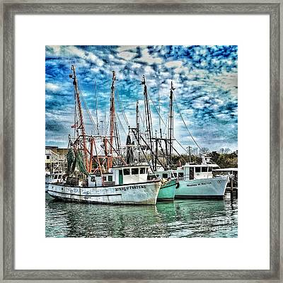 Framed Print featuring the photograph Shrimp Boats by Donald Paczynski