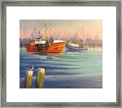 Shrimp Boats Framed Print by Marilyn Jacobson