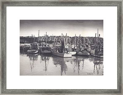 Shrimp Boats Mosquito Fleet Framed Print by Fred Jinkins