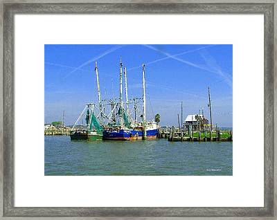 Shrimp Boats Seabrook  Framed Print by Fred Jinkins