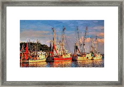 Shrimp Boats Shem Creek In Mt. Pleasant  South Carolina Sunset Framed Print