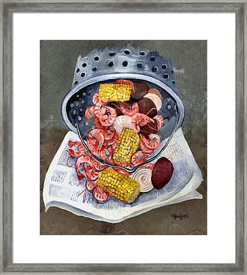 Shrimp Boil Framed Print by Elaine Hodges