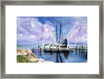 Shrimpboat Framed Print by Carol Sprovtsoff
