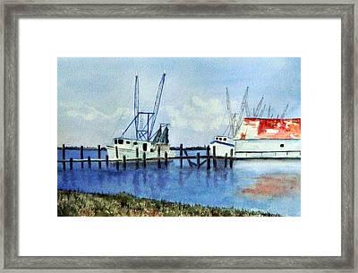 Shrimpboats At Dock Framed Print by Carol Sprovtsoff