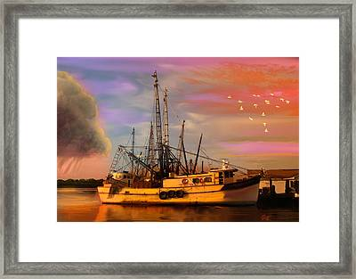 Shrimpers At Dock Framed Print
