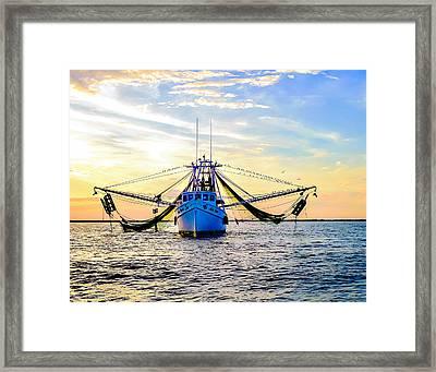 Shrimper's Sunset Framed Print