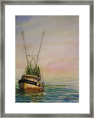 Shrimping Framed Print by Shirley Sykes Bracken