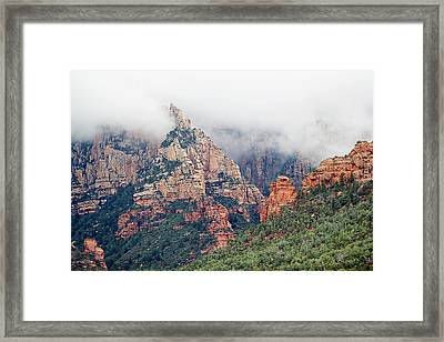 Framed Print featuring the photograph Shrouded In Clouds by Phyllis Denton