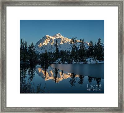Shuksan Picture Lake Almost Frozen Framed Print by Mike Reid